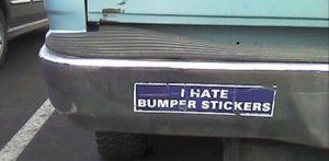 Bumper sticker on a car